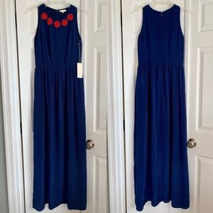 Shoshanna navy blue maxi dress with red beading